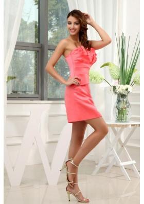 Special Design Neck A-Line Watermelon Mini Prom Dress