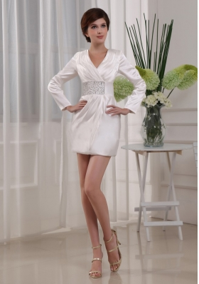Long Sleeves Beading V-neck Mini Mother Bride Dress