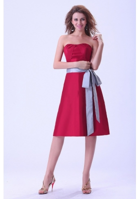 Wine red bridesmaid dresses for Silver and red wedding dresses