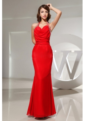 Mermaid Halter Draping Neck Floor-length Prom Dress