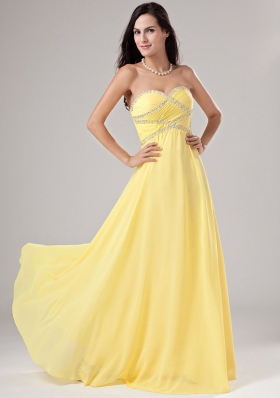 Twisted Beading Long Prom Dress Empire Yellow