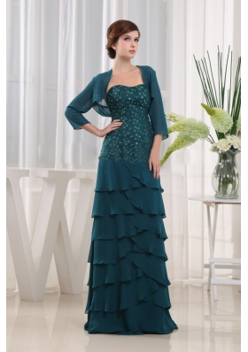 Beading Half Sleeves Jacket Teal Mother Bride Dress