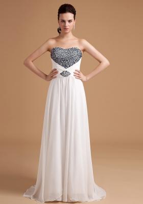 Beaded Bust Crossed Straps Empire Prom Evening Dress Brush