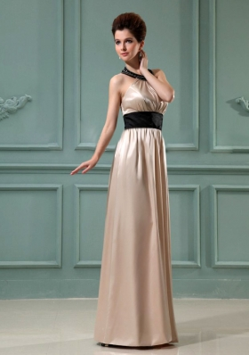 Black Halter Column Floor-length Champagne Prom Evening Dress