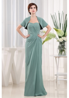 Cadet Blue Column Ruch Mother Bride Dress Long