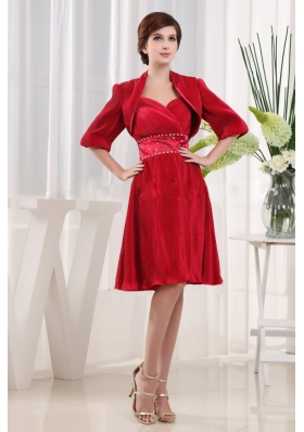 Half Sleeves Jacket Wine Red Mother Bride Dress