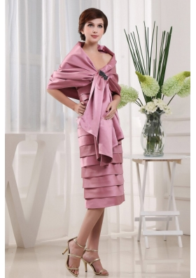 Wrap Pink Mother Bride Dress Layers Tea-length