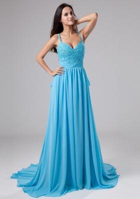 Beading Empire Straps Court Train Prom Dress Blue