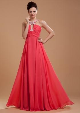 Keyhole V-neck Straps Back Appliques Coral Red Prom Dress