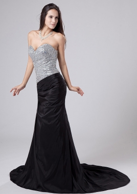 Beading Bodice Column Prom Dress Court Train Black