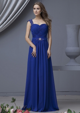 Beading Straps Blue Floor-length Ruched Prom Dress