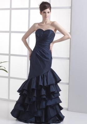 Mermaid Navy Blue Sweetheart Ruffled Prom Dress