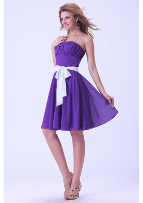 White Sash A-line Purple Bridesmaid Dresses