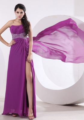 Watteau Train Prom Evening Dress Single Strap Beaded