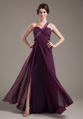 One Shoulder Appliques Prom Dress With Beading Brush