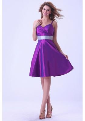 Spaghetti Straps Bridesmaid Dresses Purple A-line