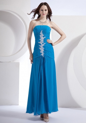 Appliques Blue Empire Strapless Prom Dress Chiffon