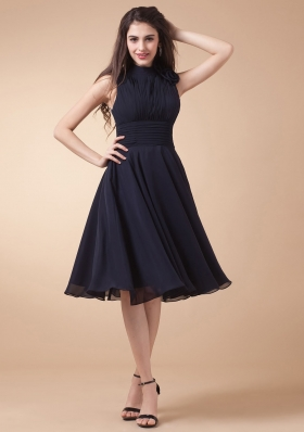 High-neck Navy Blue Prom Dress With Ruched Bodice
