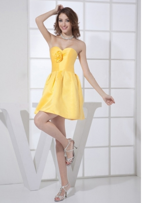 Yellow Hand Flower Bridesmaid Dresses A-line Sweetheart
