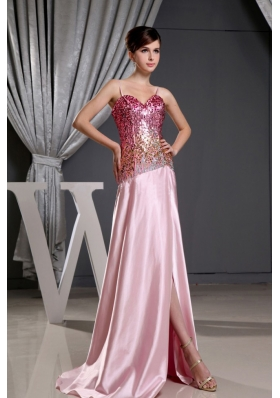 Spaghetti Straps High Slit Prom Dress Sequin Bodice