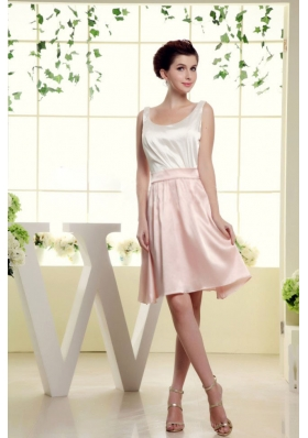 Scoop A-line Bridesmaid Dresses White and Baby Pink