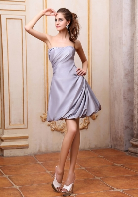 Side Zipper Grey Cocktail Dress A-line Strapless