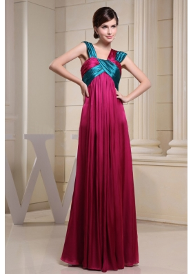 With Ruch Hot Pink Prom Evening Dress Asymmetrical Empire