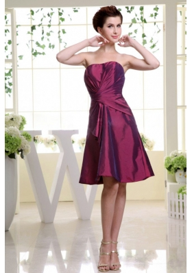 A-line Burgundy Bridesmaid Dress Strapless Ruch