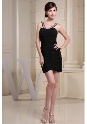 Beading Scoop Prom Nightclub Dress With Ruched Rhinestone