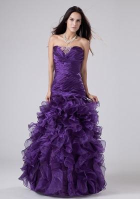 Ruffles Beading Column Prom Dress Purple Ruch