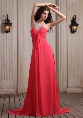 V-neck Halter Court Train Empire Coral Prom Dress