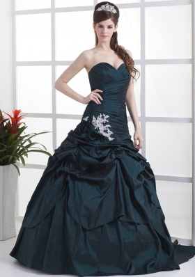 Navy Blue Brush Appliques and Pick-ups Prom Dress