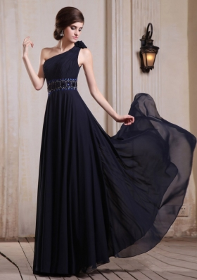 Navy Blue Prom Dress One Shoulder Bead Hand Flower