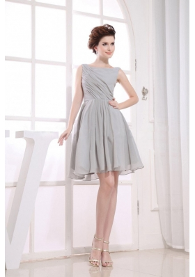 Bateau Grey Prom Dress A-line Ruching Knee-length