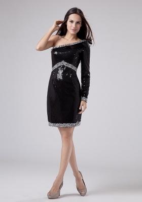 Sequins One Shoulder Prom Dress Black Beading
