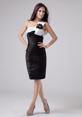 One Shoulder Hand Flower Prom Dress Ruched Black