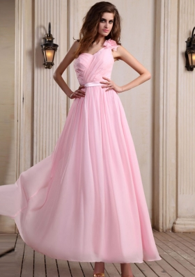 Hand Flower One Shoulder Prom Dress Baby Pink