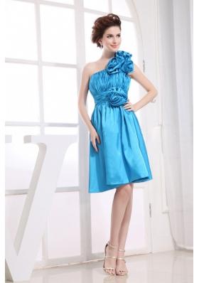 Hand Flowers Prom Dress One Shoulder Aqua Blue
