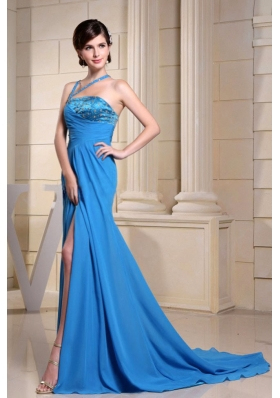 Beading Asymmetrical Neckline Blue Prom Dress High Slit