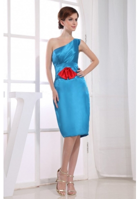 Knee-length One Shoulder Sheath Bridesmaid Dress Teal