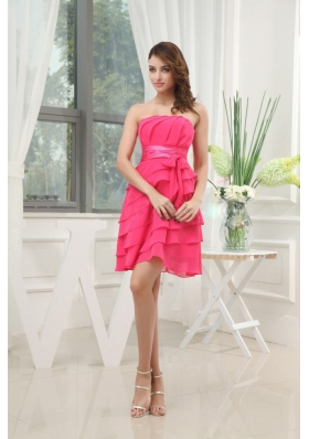 Ruffled Layers Strapless Coral Prom Dress Sash