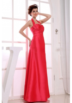 Halter Bridesmaid Dresses Red A-Line Floor-length