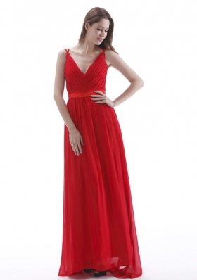 V-neck Empire Red Prom Dress Floor-length Chiffon