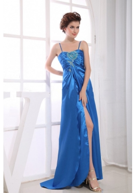 Spaghetti Straps Appliques Prom Dress Bead High Slit