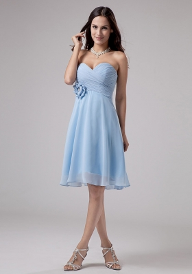 Hand Flower Ruching Bridesmaid Dresses Light Blue