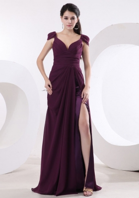 Cap Sleeves V-neck Purple Prom Dress High Slit