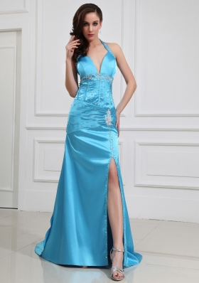Brush Halter Blue Prom Dress High Slit Beading