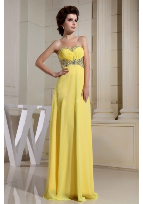 Beaded Sweetheart Empire Ruch Yellow Prom Dress