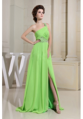 Spring Green High Slit Prom Dress One Shoulder