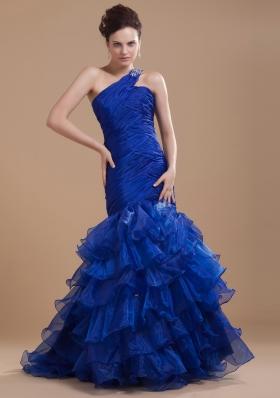 Mermaid One Shoulder Brush Ruffles Prom Dress Royal
